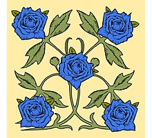 Blue Roses on Butter Yellow Background Photographic Print