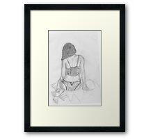 women in underwear line drawing Framed Print
