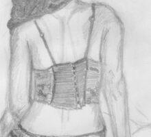 women in underwear line drawing Sticker