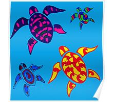 Colorful Sea Turtle Family Poster