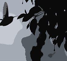 Silhouette Of Hummingbird & Hanging Fushia Plant by Jonice
