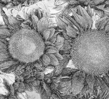 Black and White Sunflower Pattern Sticker