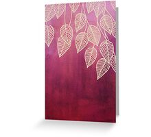 Magenta Garden - watercolor & ink leaves Greeting Card
