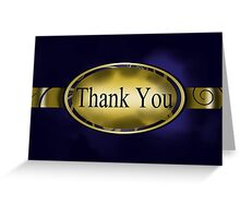 Blue & Gold Floral Button Thank You Card Greeting Card