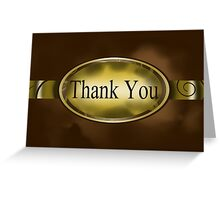 Brown & Gold Floral Button Thank You Card Greeting Card