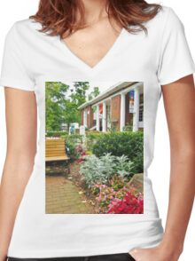 A Chautauqua Summer Scene Women's Fitted V-Neck T-Shirt