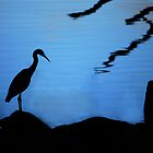 Heron Silhouette on Blue by Colonel-Herro
