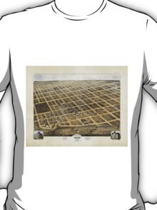 Bird's Eye View of the City of Denison Texas 1873 T-Shirt