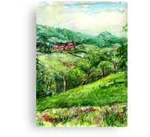 Spring Green original pencil and watercolor outdoor art Canvas Print