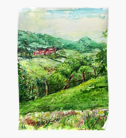 Spring Green original pencil and watercolor outdoor art Poster