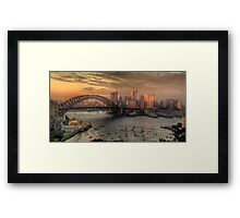 Painted Skies - Sydney Harbour, Sydney Australia(28 Exposure HDR Panoramic) - The HDR Experience Framed Print