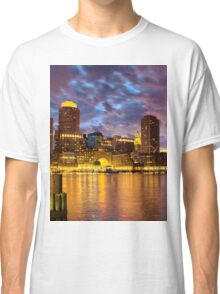 Sun dusk over Boston Harbor  Classic T-Shirt