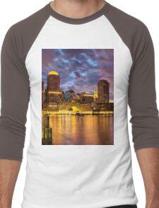 Sun dusk over Boston Harbor  Men's Baseball ¾ T-Shirt