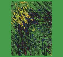 Green waves abstract  One Piece - Short Sleeve