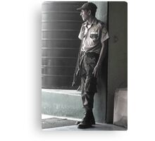 Guard Outside Bus Station in Puerto Barrios, Guatemala  Canvas Print
