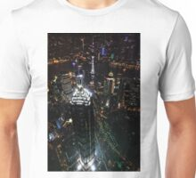 Jin Mao Tower at Night from Above - Shanghai Unisex T-Shirt