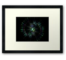 Fractal circles on black Framed Print