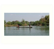 Fishing on the Mae Nam Khong River Art Print