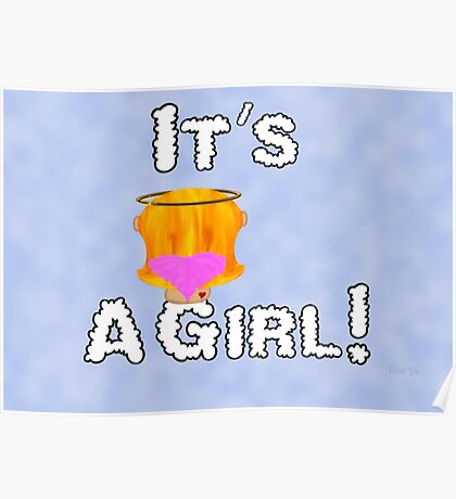 It's A Girl Angel Sitting On A Cloud Strawberry Blonde Hair Card Poster