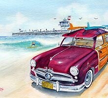 A Day at the Beach with my 49 Ford Woody by Rob Beilby