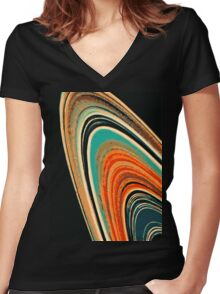 Saturn's Pattern Women's Fitted V-Neck T-Shirt