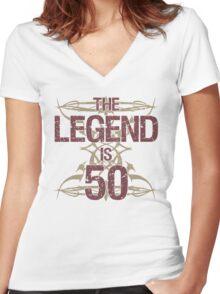 Men's Funny 50th Birthday Women's Fitted V-Neck T-Shirt