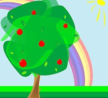 Apple tree and rainbow by Laschon Robert Paul