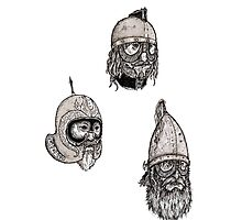 Some beardy chaps with helmets on Photographic Print