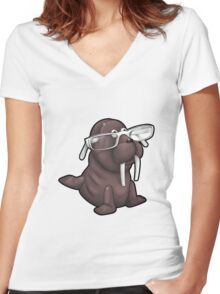 Walrus with Eyeglasses Women's Fitted V-Neck T-Shirt