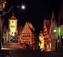 Rothenburg  - Plönlein with Full Moon #1 by David J Dionne