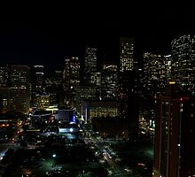 Downtown Houston at Night by Judy Vincent