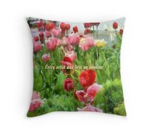 Pink And Red Tulips Throw Pillow