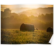 Summer hayfield in Wisconsin Poster