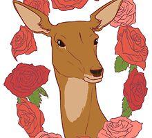 Deer in a Rose Ring - Red by bludunes