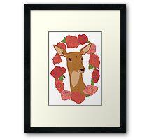 Deer in a Rose Ring - Red Framed Print