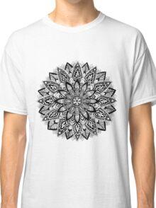 Flower Mandala Black and White Classic T-Shirt