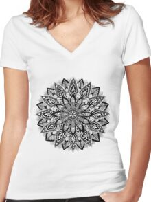 Flower Mandala Black and White Women's Fitted V-Neck T-Shirt