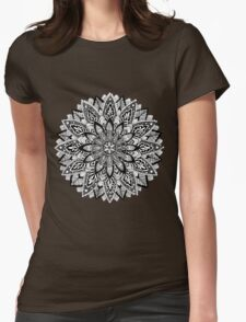 Flower Mandala Black and White Womens Fitted T-Shirt