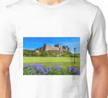 Bamburgh Castle with bluebells. Unisex T-Shirt