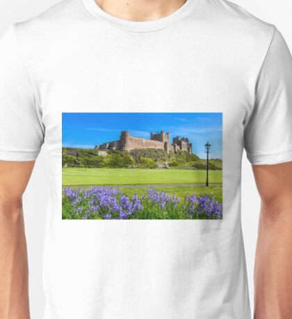 Bamburgh Castle with bluebells. Unisex T-Shirt