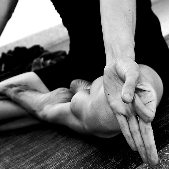 Padmasana (lotus pose) and jnana mudra by Lauren Tober