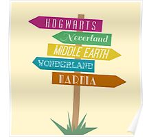 Fictional Worlds Signpost Poster