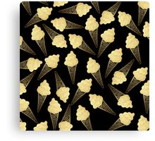 Faux Gold Leaf  Ice Cream Cones on Black Canvas Print