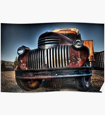 Old orange truck HDR Poster