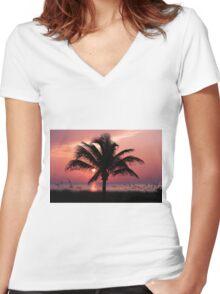 Florida Sunrise Women's Fitted V-Neck T-Shirt