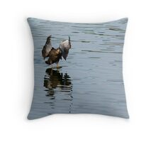 Wings braking feet down Contact Throw Pillow