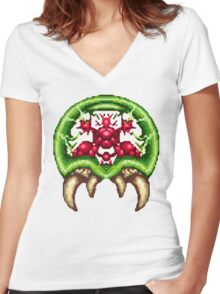 Super Metroid - Giant Metroid Women's Fitted V-Neck T-Shirt