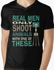 Real men only shoot with cameras Mens V-Neck T-Shirt