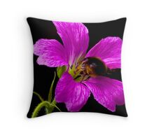 Foraging Bee a Closer View Throw Pillow