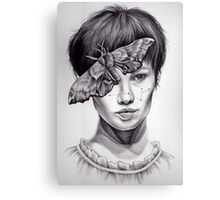Girl with Moth Canvas Print